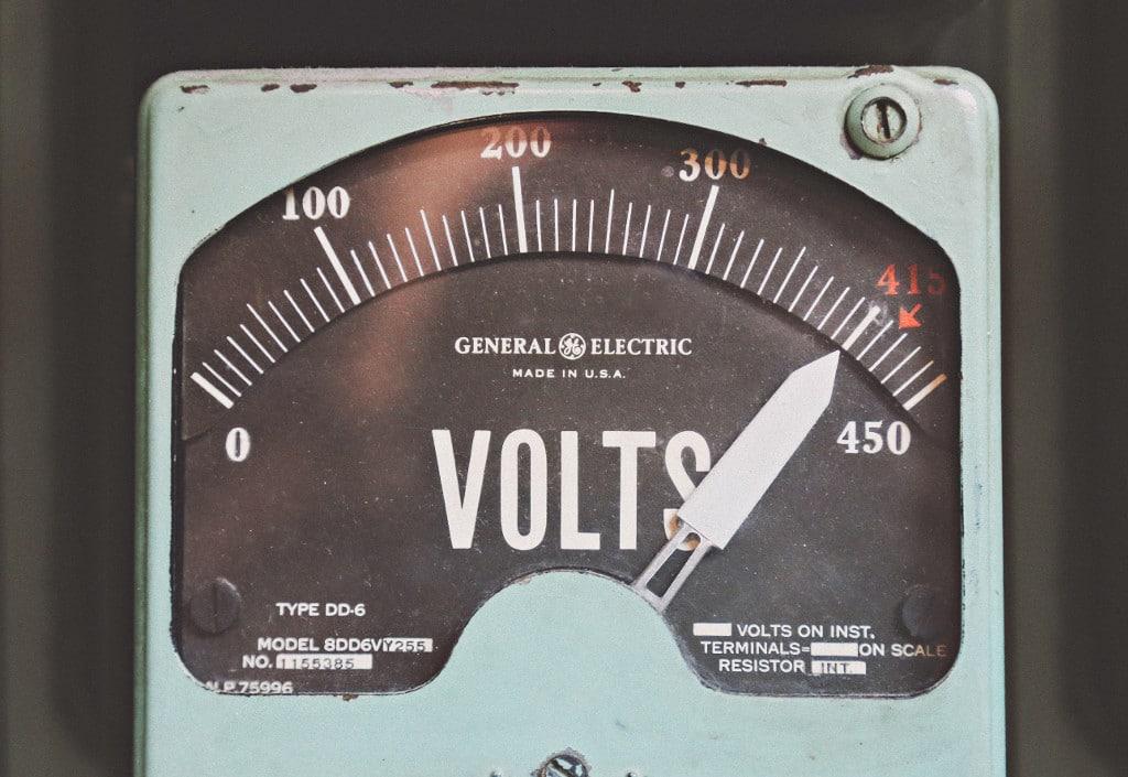 voltmeter showing voltage