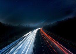 Lights from speeding cars